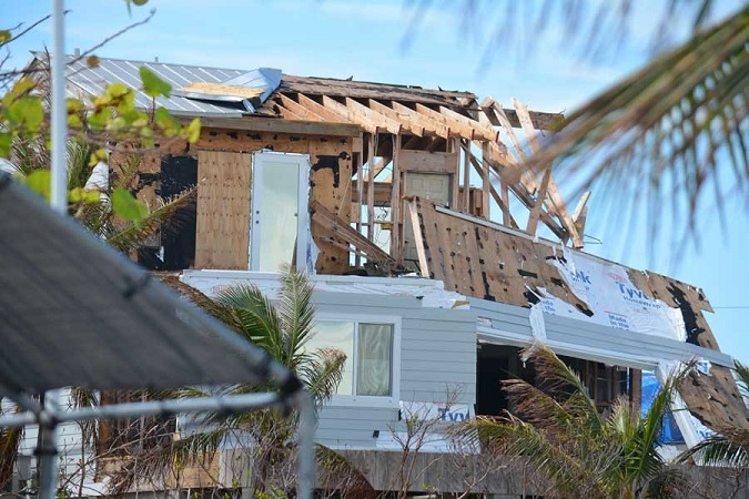 Significant damage to a wood frame home in Ramrod Key, Florida.