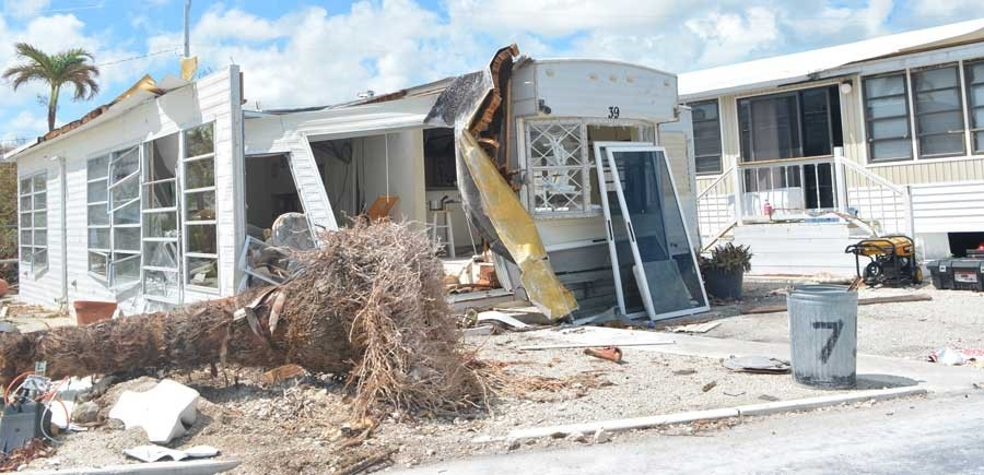 Complete destruction to a manufactured home in Cudjoe Key, Florida.