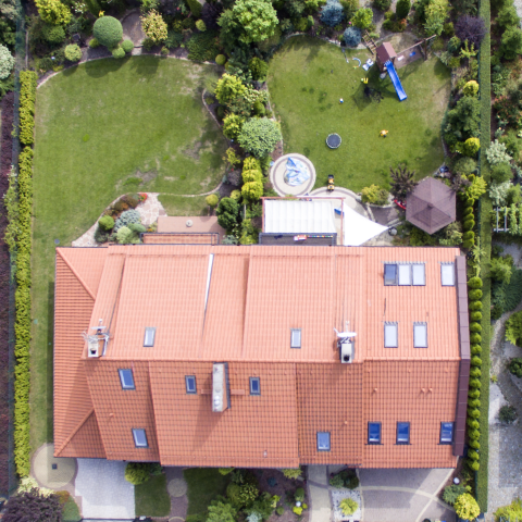 aerial image of a residential roof