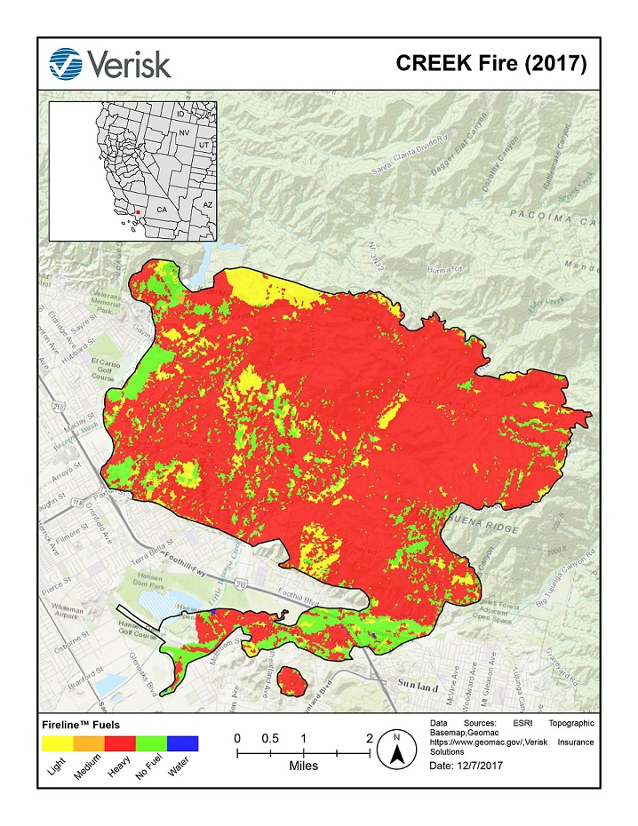 Verisk FireLine analysis of the Creek Fire