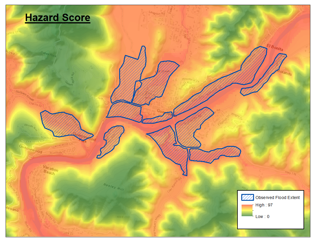 Distribution chart of flood risk scores for Guerneville area