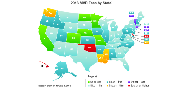 2016 MVR Fees by State