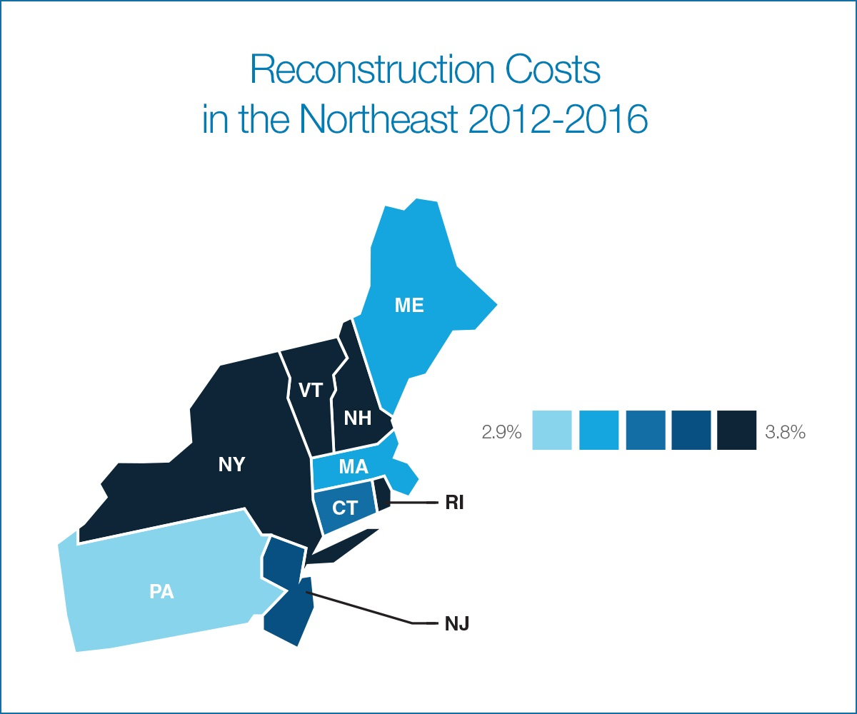 Why Did Northeast Lead US In Reconstruction Cost Hikes Verisk - Map of united states during reconstruction