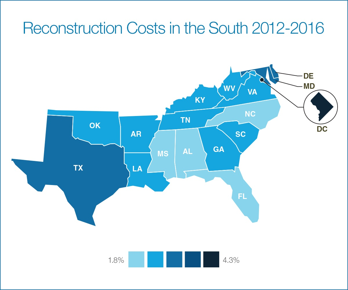 The South Continues Trend Of Slower Replacement Cost Growth - Map of united states during reconstruction