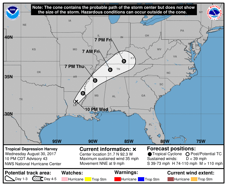 Track map for Tropical Depression Harvey