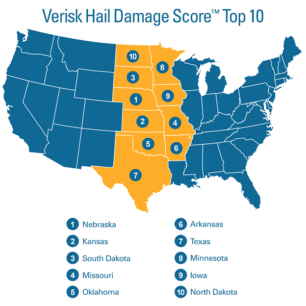 top 10 riskiest states for hail damage exposure
